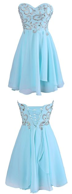Exquisite Sweetheart Short Chiffon Blue Homecoming Dress with Beading
