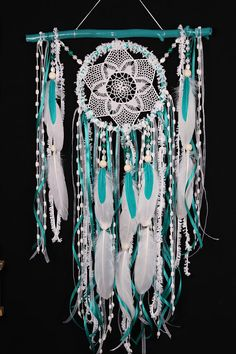 Moyenne de Dreamcatcher Boho Turquoise Dream Catcher crochet