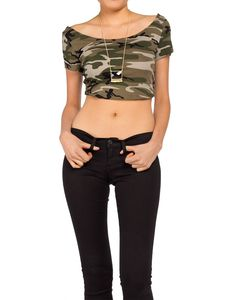 Army Print Crop Top