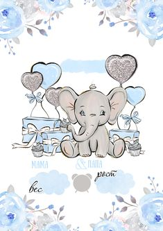 Baby Elephant Drawing, Baby Animal Drawings, Elephant Nursery, Cute Drawings, Baby Shower Themes, Baby Boy Shower, Cute Wallpapers, Wallpaper Backgrounds, Baby Posters
