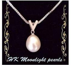Sterling silver V Genuine white freshwater pearl(10x12mm) pendant necklace  | eBay