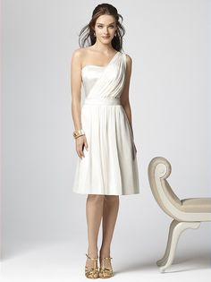 One shoulder cocktail length lux chiffon dress with matte satin bodice. Matching matte satin belt at natural waist.