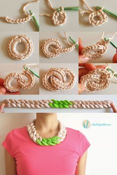 Crochet chain necklace, free pattern, photo tutorial, written instructions, English, Spanish and French