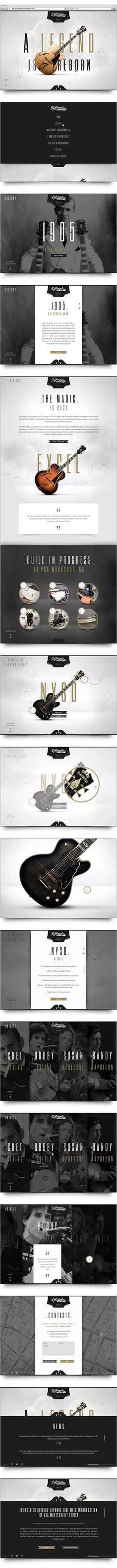 D'Angelico Guitars by Stella Petkova, via Behance Webdesign inspiration Design Typo, Logo Design, Typography Design, App Design, Layout Design, Web Layout, Mobile Design, Design Ideas, Brand Design