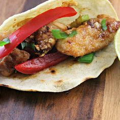 ***Kung Pao Chicken Tacos. I pinned just to use up some kung pao sauce in the fridge, but they were so good that now I have to keep it!
