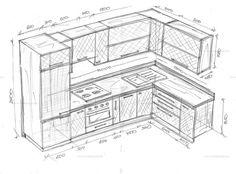 Угловая кухня. Best Kitchen Layout, Kitchen Layout Plans, Simple Kitchen Design, Best Kitchen Designs, Kitchen Cabinet Design, Kitchen Interior, Interior Design Sketches, Modern Interior Design, Drawing Furniture