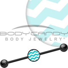 Turquoise White Chevron Industrial Barbell | Body Candy Body Jewelry #bodycandy