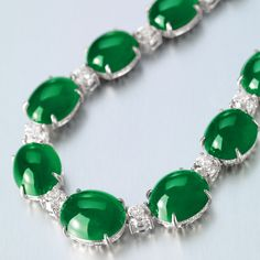 Very Fine Jadeite and Diamond Necklace and Pair of Matching Earclips | Sotheby's Magnificent Jewels and Jadeite Hong Kong