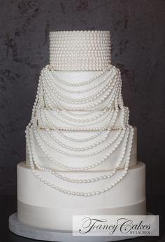 Speakeasy Pearl Necklace Wedding Cake