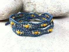 Double Wrap Beaded Bracelet, Dark Blue Wave Beaded Bracelet, Leather Wrap Bracelet, Boho Jewelry