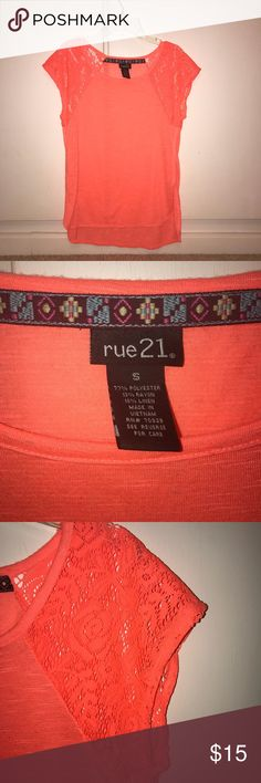 Rue 21 coral shirt Coral with aztec design around tag  Lace short sleeves  Only worn once  No damage or wear Rue 21 Tops Tees - Short Sleeve