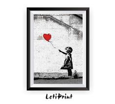 Banksy Print, Red Balloon Girl Print, Banksy Graffiti Art, Banksy Art, Banksy Painting, Banksy Wall Art, Banksy Poster, Street Art Printable  PLEASE NOTE that the frame here is NOT included in the sale, it's for illustrative purposes only.  The page size is : International paper  A5- 5.8 x 8.3 in, /14,8 x 21 cm/ - Photo Paper Matt Ultra - 240 gsm A4- 8.3 x 11.7 in, /21 x 29,7 cm/ - Photo Paper Matt Ultra - 240 gsm A3- 11.7 x 16.5 in, /29,7 x 42 cm/ - Photo Paper Matt Ultra - 240 gsm A2- 16.5…