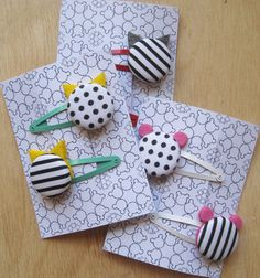Hair clips black and white patterns choose your by nogaravin