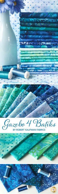 Gazebo 4 Batiks is a beautiful artisan batik collection by Lunn Studios for Robert Kaufman Fabrics available at Shabby Fabrics Perfect for quilting projects! Quilting Projects, Quilting Designs, Quilting Tools, Machine Quilting, Quilting Fabric, Longarm Quilting, Fabric Sofa, Fabric Combinations, Color Combos
