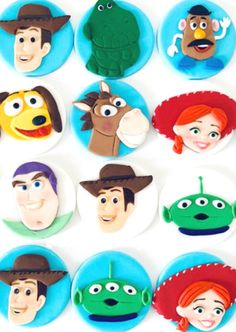 Have you ever seen anything cuter?! These fondant Toy Story cupcake toppers are delightful! Place them on a bunch of storebought or home-baked cupcakes and you're good to go! See more party ideas and share yours at CatchMyParty.com #catchmyparty #partyideas #toystory #toystory4 #toystory4 #toystoryparty #toystorypartysupplies #toystorycupcakes #toystorycupcakestoppers