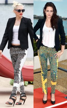 Gwen Stefani, Kristen Stewart wearing Balenciaga pants {Laugh all you want but this is the new trends in pants, believe it!}