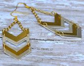 Silver and Gold Chevron Earrings
