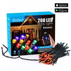 Brizled Dimmable LED Christmas Lights, 200 LED 65ft Mini String Lights, Bluetooth LED Lights Controlled by iOS & Android Devices, Ideal for Holidays, Parties and Wedding Decorations, Multi Color