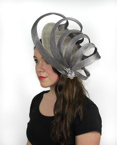 Sherry Cobler Grey Fascinator Hat for Weddings, Races, and Special Events With Headband