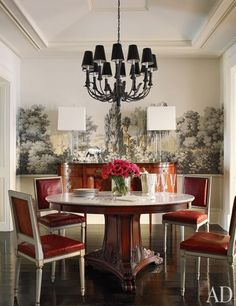 Brooke Shields' dining room. Love the wallpaper!