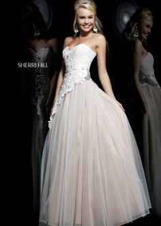 Shop New 2014 Sherri Hill Prom Dresses, find Sherri Hill 11128 ivory, nude beaded lace ball gown dress at RissyRoos.com.