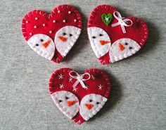 Cute magnets Felt Fridge Magnets - christmas felt ornaments - kitchen decor - refrigerator magnets, set of 3 pieces red