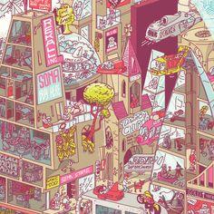すごい細かい街のイラスト。すげー。(via Business Punk)