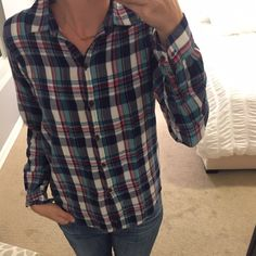 Anthropologie plaid shirt Contrast fabric inside sleeve cuff. Like new condition. Hits at hip. Anthropologie Tops Button Down Shirts