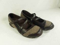 Womens shoes SKECHERS Bikers $65 step up toffee leather tweed Mary Janes sz 7 M