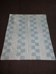 "Antique Hand Stitch + Hand Quilted Doll's Quilt Blue + White 1 1/2"" Squares, 19 x 25 in., eBay, mctiques"