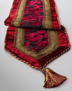 """Burgundy Table Runner, 19"""" x 108"""" at Horchow."""