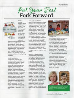 Put Your Best Fork Forward for National Nutrition Month. Learn more in this article Tracy Williams wrote with me for the March issue of Southern Dallas County Business and Living Magazine, with quotes from RDNs, Angel Chi Chi Planells, Sarah Krieger, Mandy Enright and Aileen Birkitt.