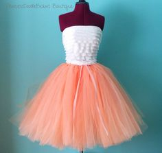 Peachy Keen -  Full Poof Sewn Tulle Skirt in Peach  - soft orange color - for teens and women - your choice of size and length