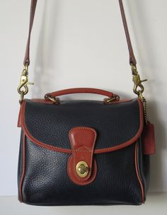 Coach Vintage Leather Blue Authentic Handbag Crossbody Purse 501-08 by BorjonsVintage on Etsy