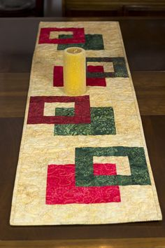 Modern Batik Table Runner Gold Red and Green by FabriArts on Etsy