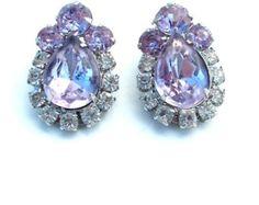 Lavender Vintage Teardrop Glass Rhinestone Earrings Pastel Purple Jewelry