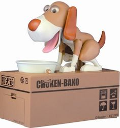 Feed this cute dog with money by throwing a coin into the bowl and you will see the dog munching at it happily! The dog would tip the bowl to a side and slip the coin into the box for you. Powered by 2x AA batteries (not included). Coin size cannot be larger than 25mm diameter and thickness 2mm.
