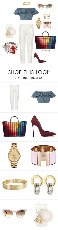 """""""city girl..."""" by styleiam ❤ liked on Polyvore featuring Tod's, MDS Stripes, Anya Hindmarch, Casadei, Lacoste, Rebecca Minkoff, Gucci and Ashlyn'd"""