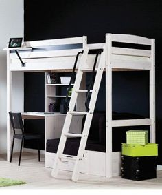 Children's Trendy 28 Whitewash Loft Bed - fold out sofa