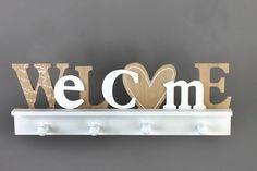 Holzbrett mit 4 Haken, weiß/beige Bathroom Hooks, Beige, Wooden Platters, Boards, Shop Signs, Creative, Gifts, Decorations, Ash Beige