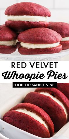Red Velvet Whoopie Pies are two little red velvet cakes filled with a dreamy cream cheese filling. These are great for Christmas and Valentine's Day. Follow Food Folks and Fun for more Christmas dessert ideas!