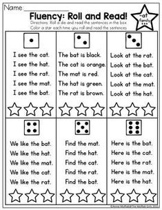 Fluency: Roll and Read! Very simple sentences with sight words and CVC words for beginning and struggling readers. This is one of many simple activities in the CVC Fluency bundle, designed to build fluency, confidence and comprehension. Reading Fluency Activities, Phonics Reading, Teaching Phonics, Phonics Activities, Reading Strategies, Reading Skills, Teaching Reading, Reading Comprehension, Guided Reading