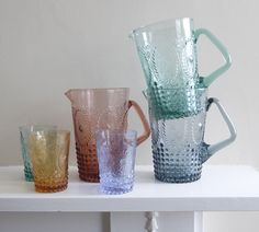 Coloured Pressed Glass Jugs