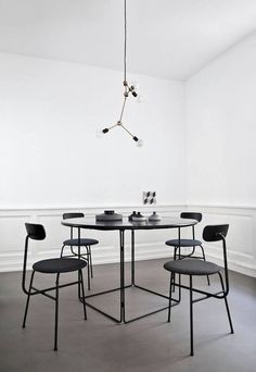 Black and white interior design Norm Architects Studio Decoration Inspiration, Dining Room Inspiration, Interior Design Inspiration, Design Ideas, Dining Room Furniture, Dining Chairs, Dining Rooms, Dining Menu, Chair Design