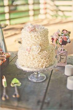 Ruffled Ivory Wedding Cake