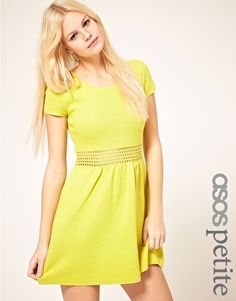 Enlarge ASOS PETITE Fit And Flare Dress With Crochet Waistband