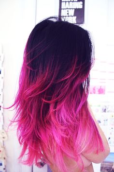 Hot Pink Ombre Dip Dye Hair Chalk