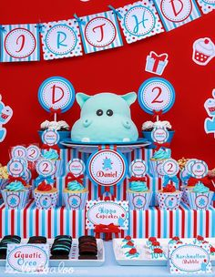 Hippo Birthday Party #hippo #party...I must have the hippo cake for my next birthday!!