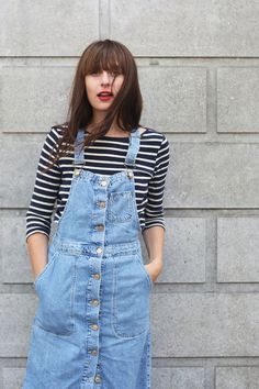 Stripe Tee and Button Up Pinafore