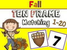 Fun fall matching game with tens frames.  Practice number sense.  Great math station!